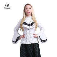 >> Click to Buy << ROL2016 High Quality Women Lolita Shirt Cotton White Black Victorian Gothic Lolita Blouses Lace Flare Sleeve Vintage Women Shirt #Affiliate