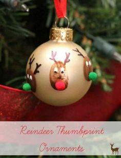 Reindeer Thumbprint Ornaments 40 DIY Homemade Christmas Ornaments To Decorate the Tree - Big DIY IDeas Kids Christmas Ornaments, Preschool Christmas, Noel Christmas, Christmas Projects, Reindeer Ornaments, Christmas Activities, Handmade Ornaments, Reindeer Craft, Ornaments Ideas