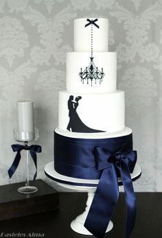 New Year's Engagement Party! Navy, Blue, Silver, White and Black. Ballroom wedding cake - love the satin ribbon