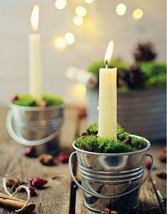 Décoration de table hiver : détournez des petits seaux en bougeoirs