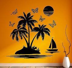 Vinyl Decal Wall Stickers Palm Beach Island Relax Tropical Beach House vacation Decor (ig505)