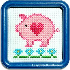"""SWEET PIGGY--55PG This counted-cross stitch kit includes 6-count Aida cloth and a 5""""x5"""" Blue Square Hoop-Frame for stitching and framing - - - - - - EasyStreetCrafts.com"""