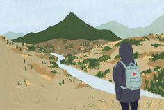 Adventure / Travel gouache painting / illustration