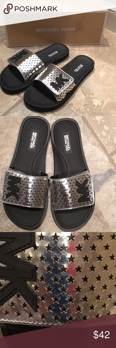 fdebca2ce3af Shop Women s Michael Kors Silver Black size 6 Sandals at a discounted price  at Poshmark. Lasered mirror metallic with stars. Mk SlidesMichael ...