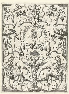 grotesque design with arabesque-influenced strapwork, by Lucas Kilian, from his 'Newes Gradesca Beuchlein. Ancient Aliens, Ancient Art, Arabesque, Golden Number, Renaissance, Gravure, Art Google, Art Images, Les Oeuvres