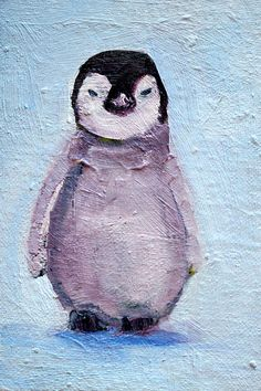Baby Penguin Oil Painting Small 4x6 Original by smallimpressions