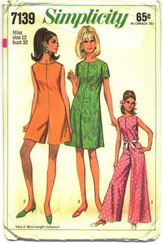 Vintage Original Simplicity Ladies Dress Sewing pattern. Misses' pant dress in three lengths. Has slightly lowered round neckline, back zipper, button trim and optional purchased belt. Pattern by: Sim