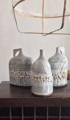 """Garden watering cans"" Ceramics by Jane Wheeler 「ガーデンの如雨露」 陶芸、ジェーン・ウィラー"