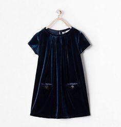 vestido niña azul zara