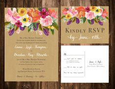 Bright Spring Florals on Kraft Wedding Invitation by papernpeonies