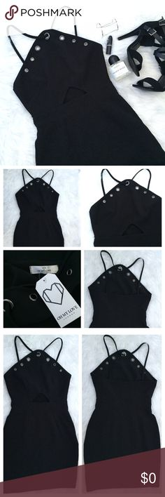 """ASOS OH MY LOVE eyelet halter cutout dress OH MY LOVE LONDON from ASOS Black halter style dress with modest triangle cutout just above the waistband. Gunmetal eyelets along top of dress. Mid-weight fabric and invisible back zip. unlined. Dress is tailored and is not the stretchy body con style.  No size tag, but would best fit a small.  •Bust 31""""  •Waist 25"""" •Hips 34"""" •Length 34 1/4"""" from top of strap Asos Dresses"""