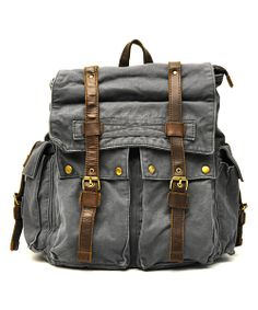 Take a look at the J. Campbell Charcoal Vintage Buckle Backpack on #zulily today!