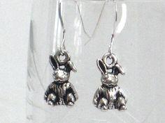 Bunny Earrings Silver Rabbit Easter Earrings Spring by CCARIA, $17.00