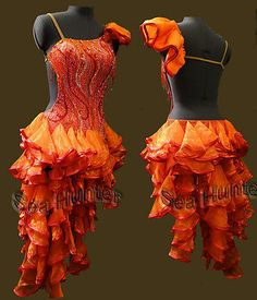 Competiton Ballroom Samba Latin Cha Cha Ramba Dance Dress US 8 UK 10 Red Color