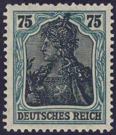 Germany, German Empire, German Reich 1918 / 19, Germania, 75 Pfg. frame bluish green (metallically), mint never hinged superb, photo attest Tworek BPP (postfr., Michel-no. 104b F / Michel EUR 400,). Price Estimate (8/2016): 70 EUR. Unsold.