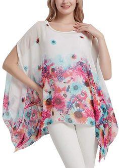 Women's Floral Chiffon Blouse Batwing Summer Hippie Sheer Loose Caftan Poncho Tunic Shirt Tops at Amazon Women's Clothing store