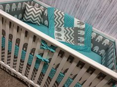 Teal and Gray Elephant and Chevron Crib Bedding – Custom Bebe Textiles