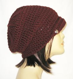 "flipped brimm slouch,beanie,hat,cap,decorated with two buttons,color aubergine,made to fit teens & adults 21-23"" by Jeniebugs on Etsy"