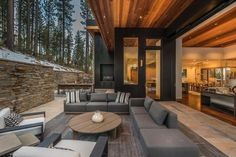 Modern mountain home designed by Kelly & Stone Architects in collaboration with Colby Mountain Properties, located in the private community of Martis Camp, Truckee, California Mountain Home Exterior, Modern Mountain Home, Dream House Exterior, Patio Grande, Minimalist Home Interior, Modern Farmhouse Exterior, Coastal Living Rooms, California Homes, Truckee California