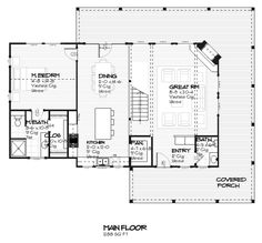 Farmhouse Style House Plan - 3 Beds 2.5 Baths 1681 Sq/Ft Plan #901-11 Floor Plan - Main Floor Plan - Houseplans.com