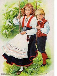 The girl is wearing Pyhäjärvi's dress, the boy Säkylä's. Folk Costume, Costumes, Dress Painting, Dress Illustration, Textiles, Folklore, Traditional Outfits, Handicraft, Finland