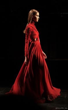 Prabal Gurung, F/W 2014, red floor-length pleated dress; photo by Garance Doré #NYFW