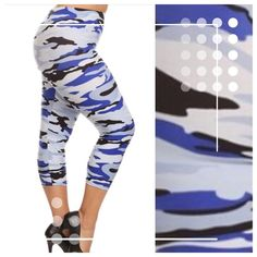 PLUS SIZE BLUE CAMO CAPRI LEGGINGS! Some of my ladies over size 14-16 said the others leggings were snug! NOT what the vendor described, so I went on my own hunt! I found CAPRI in One Size that fits up to about size 24! YES FOR REAL! I've still got the others for up to a large 14/small 16 OR these are the new ones! Size 18-24. Micro Fiber, Polyester/Spandex, super sketchy and soft. ENJOY! Pants Leggings