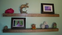 "Reclaimed Rustic Barn Wood Floating Wall Shelves 36""L - set of 2 Solid Oak. $160.00, via Etsy."