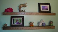 "Reclaimed Rustic Barn Wood Floating Wall Shelves 36""L - set of 2 Solid Oak. $173.00, via Etsy."