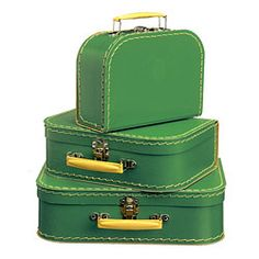 Set of Three Green Suitcases via Basic French - $46