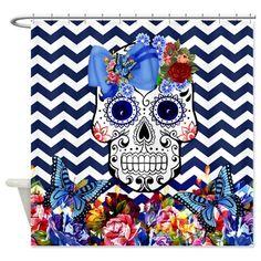 Shower Curtain Sugar Skull Chevron Roses by FolkandFunky on Etsy