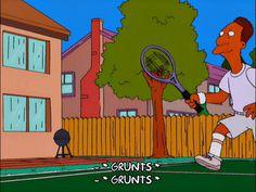 homer simpson sports marge simpson season 12 episode 12 tennis carl carlson grunts 12x12 via diggita.it #tennis