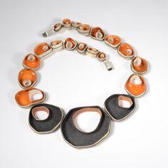 JASMIN WINTER GERMANY Necklace, Silver, Enamel, Resin, Thread, Black/Orange
