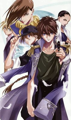 From left to right: Quatre Winner, Trowa Barton, Duo Maxwell, Heero Yuy, and Chang Wufei. From Gundam Wing.