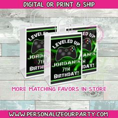 video game treat bags/labels-video game party bag favors-video game candy bags-gamerparty-game truck loot bags-digital-printed-game truck by PersonalizeOurParty on Etsy Video Game Party, Party Games, Custom Gift Bags, Customized Gifts, Loot Bags, Candy Bags, Mermaid Party Favors, Brochure Paper, Chip Bags