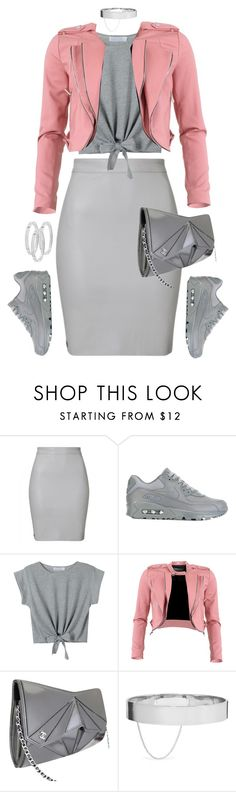 """""""Grey x Pink"""" by styleswavington ❤ liked on Polyvore featuring NIKE, WithChic, FRACOMINA, Chanel, Eddie Borgo, Michael Kors and nike"""