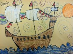 we heart art: Drawing the Mayflower for Thanksgiving Fall Art Projects, Classroom Art Projects, Art Classroom, Classroom Ideas, Thanksgiving Drawings, Thanksgiving Art, First Grade Art, Second Grade, Art Lessons Elementary