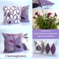 Your place to buy and sell all things handmade White Cushion Covers, White Cushions, Printed Cushions, Scatter Cushions, Throw Pillows, Cushion Pads, Simple Shapes, Purple Grey, Leaf Prints