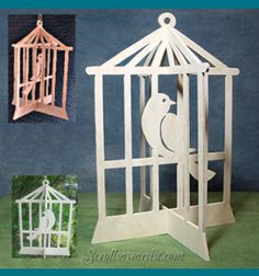Scroll Saw Patterns :: Miscellaneous :: Birdcages & Birdhouses :: Slotted birdcage & ornament #6 -