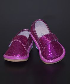Loving this Pink Glitter Leather Squeaker Shoe on #zulily! #zulilyfinds