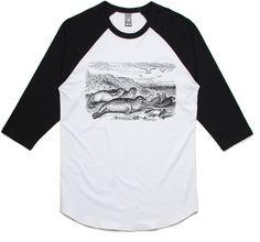 theIndie Sunbathing Seals (Black) 3/4-Sleeve Raglan Baseball T-Shirt
