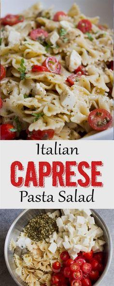 Pasta Salad This Italian Caprese Pasta Salad is the perfect side dish! Caprese Pasta SaladThis Italian Caprese Pasta Salad is the perfect side dish! Salade Caprese, Caprese Pasta Salad, Pasta Salad Italian, Caprese Appetizer, Italian Appetizers, Brocoli Pasta Salad, Pasta Salad Recipes Cold, Ensalada Pasta, Vegetarian Pasta Salad