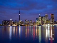 View of Toronto Skyline at Night from 'The Docks', Toronto, Ontario, Canada. Photographic Print by Henry Georgi at Art.com