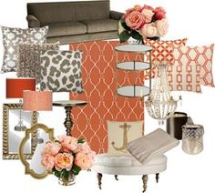 """""""Coral and Gold Living Room"""" by chloeg01 on Polyvore"""
