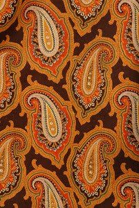Wool/cotton blend printed in a paisley, about 1880