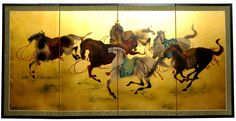 """36"""" x 72"""" Gold Leaf Riders In The Storm On 4 Panel Room Divider"""