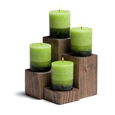 """Availability Usually ships in 1 business day Size Approx 3.5"""" x 1.5"""" Our wood candle holders are cut from solid pieces of Douglas Fir then hand-finished with an ebony stain.ΠOffered in 4 different si"""