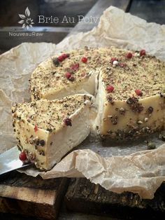 """Cashew Cheese Au Poivre is raw, dairy-free, peppercorn crusted """"cheese"""". The base of the """"cheese"""" is made from soaked cashews.... rich and creamy!"""