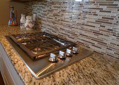 Glass tiled back splash. Kitchen Stove, Kitchen Redo, New Kitchen, Kitchen Remodel, Kitchen Design, Glass Tile Backsplash, Kitchen Backsplash, Backsplash Ideas, Glass Tiles