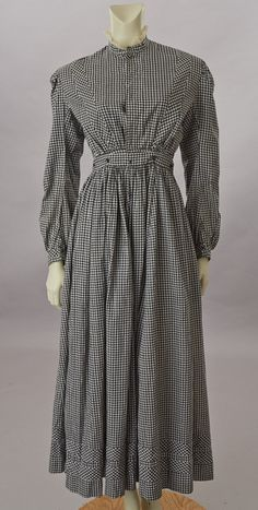 Black & White Gingham Check Cotton Dress